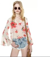women large floral flower punk hollow out deep V butterfly sleeve sexy body vintage chiffon blouse  ladies blouses tops haoduoyi