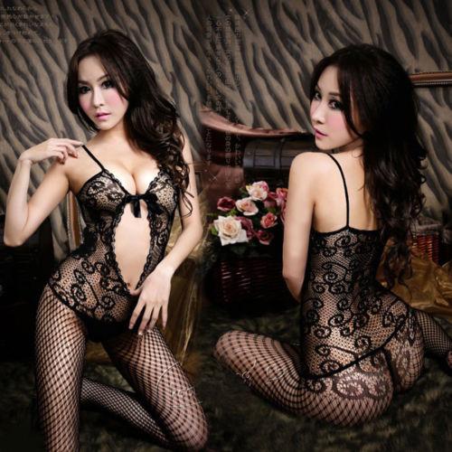 Sexy Black Ladies Fishnet Lingerie Nightwear Crotchless Body Stocking Bodysuit(China (Mainland))