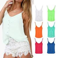 Free Shipping 2014 Spring Women Blouse Candy Color Lady Shirts Sexy Chiffon Blouse Spagetti Strap Vest Tops XXXL Plus size