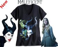 Hot sale Angelina Jolie Maleficent  V-neck Shirt Summer T-Shirt Girl Short Sleeve Cotton T-shirt Free Shipping