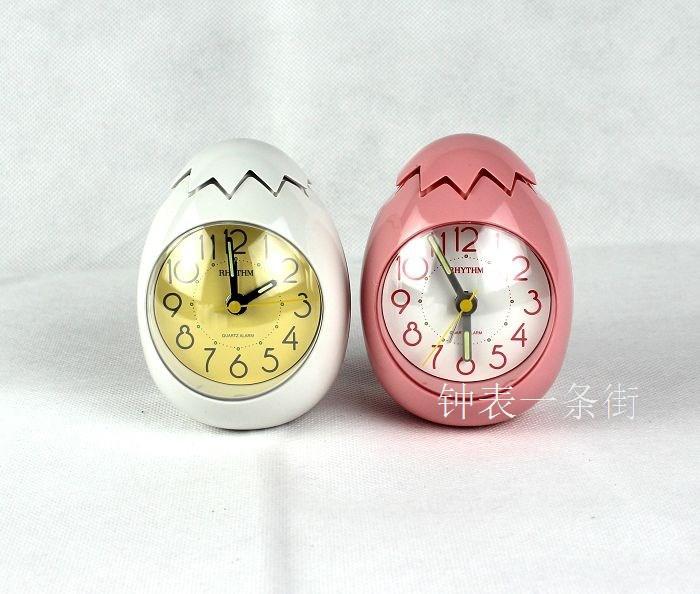Free Shipping! [1pc] RHYTHM egg muted alarm clock creative clock children gift birthday gift(China (Mainland))