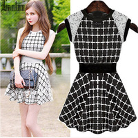 Lanluu New Trendy 2014 Summer Dress Sleeveless Plaid Knitting Cotton with Lace Casual Women Dress SQ313