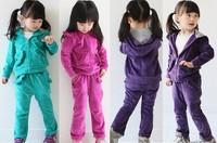 Retail 3-7Y fashion children clothing sets New 2014 Spring/Autumn beautiful corduroy 2pcs girl sets cute kids sets (coat+pants)