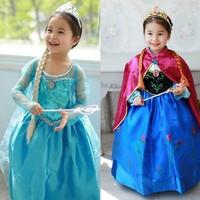 Kids girls costumes dress,princess costume anna cosplay party dress summer girl dresses retail