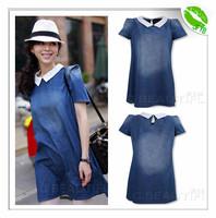 2014 Fashion New Spring Casual Denim Mini Dress Women Summer Loose Brief Jeans Dress Ladies Short Puff Sleeve Dresses Female