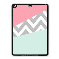Mint & Coral Chevron Shell Tablet Shape Black TPU Protective Cover Case For iPad 5 Air/iPad Mini/iPad 2 3 4(Free Shipping)  P60