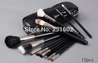 12 pcs /SET 1 SET  MC M LOGO makeup cosmetic brush set high quality hair makeup tool with zipper black bag