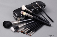 12 pcs makeup cosmetic brush set high quality hair makeup tool with zipper black bag