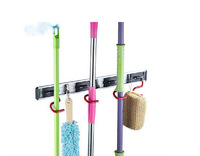 Hot Sale Wholesale And Retail Promotion NEW House Keeping 4 Position Bathroom Mop Broom Holder Cleaning Tools Rack Hooks