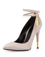 2014 New Brand Women Pointed Toe High Heels Gladiator Women Pumps Snake Leather Golden Lock Decoration Design Shoes