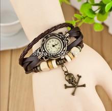 Wholesale New Fashion Women Dress Watches Skeleton Pendant Vintage Luxury Bracelet Wristwatch Bangle Watch Freeshipping VIS