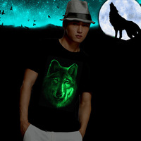Men's Dancecub Glow Night Light T shirt 3D Wolf Print Tees Summer Shirt Short Sleeve Brand Tops M ~ XXL Big Size Cotton Tees