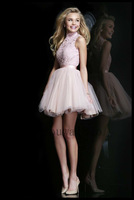 High Neck Open Back Pink Lace Graduation Dress Girl Short Homecoming Dresses 2014 New Arrival crystal cocktail dress