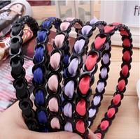 Free shipping 5pcs/lot new design fashion  Korea leather ribbon woven edge pressing hair band,fashion jewelry