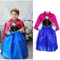 new 2014 children  Frozen Anna costume dress baby girls dresses with cape girls anna cosplay dress wonderful soruces in stock