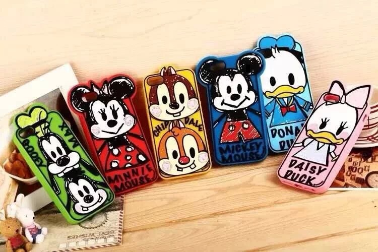 1X 2014 3D New Arrive Lovely Minnie Mickey Duck Squirrel Soft Silicone Skin Cases For Apple iPhone 5 5G 5S Covers Drop Shipping(China (Mainland))