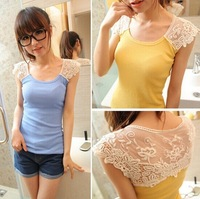 New 2014 Korean summer women's Slim hollow Lace Vest short-sleeved t-shirt women shorts clothing lady bottoming roupas femininas