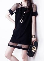 EAST KNITTING Summer dress 2014 Sexy Fashion Mesh Lace Chiffon short sleeve Dress Women Casual Black Blue Free Shipping