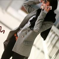 2014 Hot Sale Top Quality Plus Size Clothes One Button Wool Coat Woolen Suit Medium-long Outerwear Trench Q94