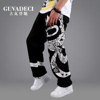 Men hip hop jeans Skateboard sports health pants Hip hop dance loose pants Man sportwear Sweatpants street dance pants