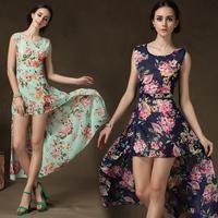 Woman Dress High Quality 2014 Floral Print  Plus Size Sexy Trumpet Mermaid Dresses Evening Party Slim Dress 58009#