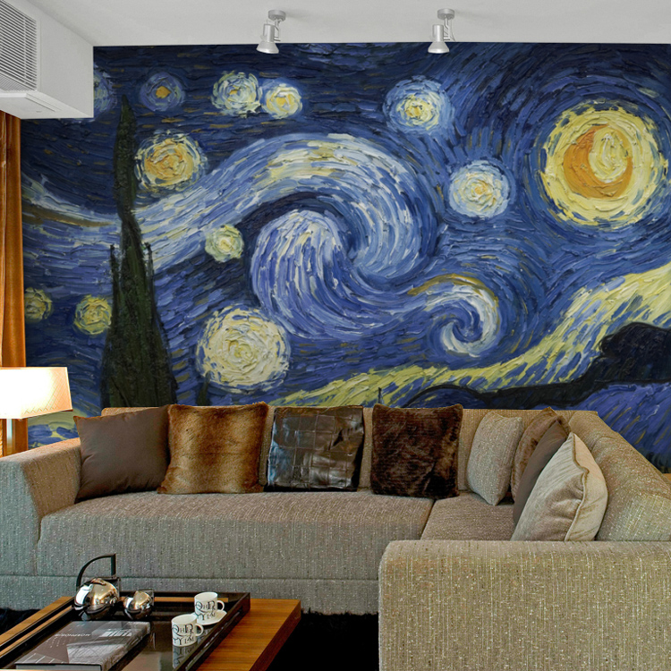 starry night van gogh the sitting room porch large murals hang a