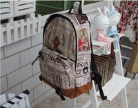 Fashion  newspaper design backpack school bags