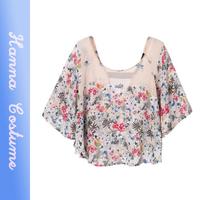 New arrival summer 2014 loose flower print t shirt fashion women t-shirt top half batwing sleeve t shirts woman clothing