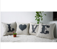 "4PCS/LOT Linen Pillow Cover LOVE Printed Cushion Cover Decorative Home Pillow Case 18""(45x45CM) Free Shipping"
