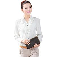 Auturn Women's Long Puff Sleeve Ruffles Chiffon Shirts Blouse 2014 New Designer Fashion Office Ladies Work Wear Plus Size
