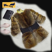 2014  New arrive Genuine Real Whole skin Fur Raccoon Jacket Coat Autumn and Winter  Women Natural Furs Gilet overcoat