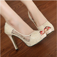 New elegant fashion female sandals gauze hollow Korean style fish head high heels waterproof stiletto heels KZ189