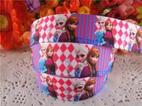 2014 new arrival 7/8'' (22mm) frozen princess printed grosgrain ribbons cartoon ribbon DIY hair bows 50 yards WQ14042522