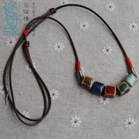 Ceramic fang zhu necklace ceramic accessories jewelry handmade necklace girls short design chain accessories