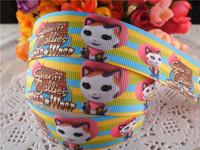 2014 new arrival 1'' 25mm sheriff callie printed grosgrain ribbon cartoon ribbons cloth tape 50 yards WQ14032429