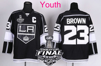 New Youth 2014 Stanley Cup Finals Patch #23 Dustin Brown Los Angeles Kings Black LA Ice Hockey Jerseys Kids Stadium Series HOT