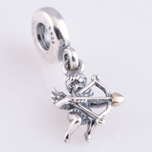 Fits Pandora Charms DIY Bracelet Silver 925 Bead Cupid with Gold Plated Heart Arrow Pattern European