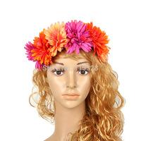 Free Shipping 1pcs New Design Bridal Girl  Plastic Artificial Elastic Wedding Flower  Crown Headband  Accessories For  Women