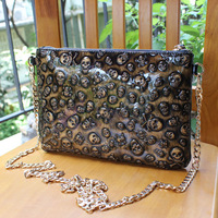 Bolsas Bolsa Women Handbags free Shipping 2014 Women's Genuine Leather Handbag Skull Cross-body Small Envelope Bag Messenger