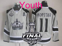 New Youth 2014 Stanley Cup Finals Patch #11 Anze Kopitar Los Angeles Kings Grey LA Ice Hockey Jerseys Kids Stadium Series HOT