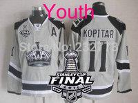 New Youth 2014 Stanley Cup Finals Patch #11 Anze Kopitar Los Angeles Kings Grey LA Ice Hockey Jerseys Kids Stadium Series HOT