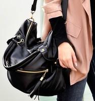 Fashion Ladies Shoulder Bag Black PU Leather Handbag Cross Body Messenger Bag Women Satchel Purse