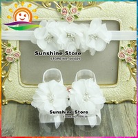 Sunshine store #2B1944 5 set/lot(ivory)Baby christening baptism diamond/pearl Couture Headband and Barefoot Sandal shoe lace set
