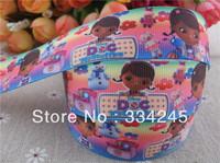 2014 new arrival  1'' (25mm) doc mcstuffins printed grosgrain ribbon cartoon ribbon hairbow ribbon wholesale 50 yards