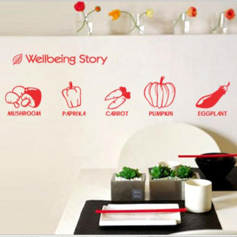 Kitchen refrigerator glass windows logo stickers decorative wall-stickers wallpaper green vegetables(China (Mainland))
