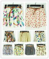 summer dress new 2014 Fashion Korean saias womens short skirts women's clothing chiffon skirts saias femininas  with sashes