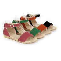 4 colors High quality new arrived lovely style flat flock sandals buckle solid women sandals T1ST-x-1