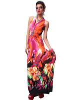 2014 New Womens Vintage Print Floral Pattern Slim Dress Women's Deep-V  Sleeveless Sexy Dresses free shipping F4171
