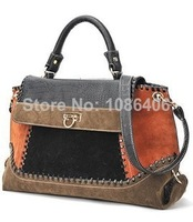 Desigual Direct Selling Freeshipping Women Handbag, 2014 New Retro Ladies Matte Leather Stitching Shoulder Bag, Messenger Bags