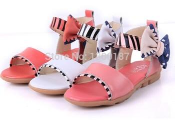 Детская обувь обувь для девочек общество с ограниченной мягкий лодыжки пленку бесплатная доставка 2015 летом новый корейский обувь для девочек дети сандалии леди с бантом принцесса